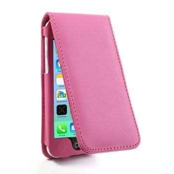 iPhone 5C lederen flip-over hoesje – Roze