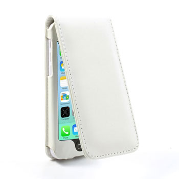 iPhone 5C lederen flip-over hoesje – Wit