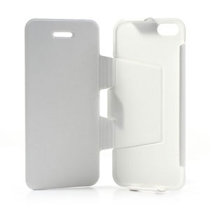 Lederen case met standaard voor iPhone 5C – Wit