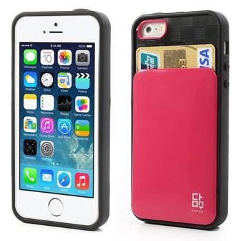 Hoesje met pasjesinsteek voor iPhone 5[S] – Roze