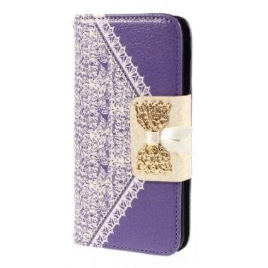 iPhone 6[S] Wallet Book – paars met kant