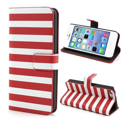 iPhone 5C hoesje met horizontale strepen – Rood