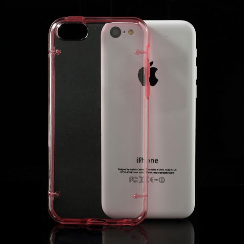 iPhone 5C Transparant met Gekleurde Oplichtende Bumper – Rood