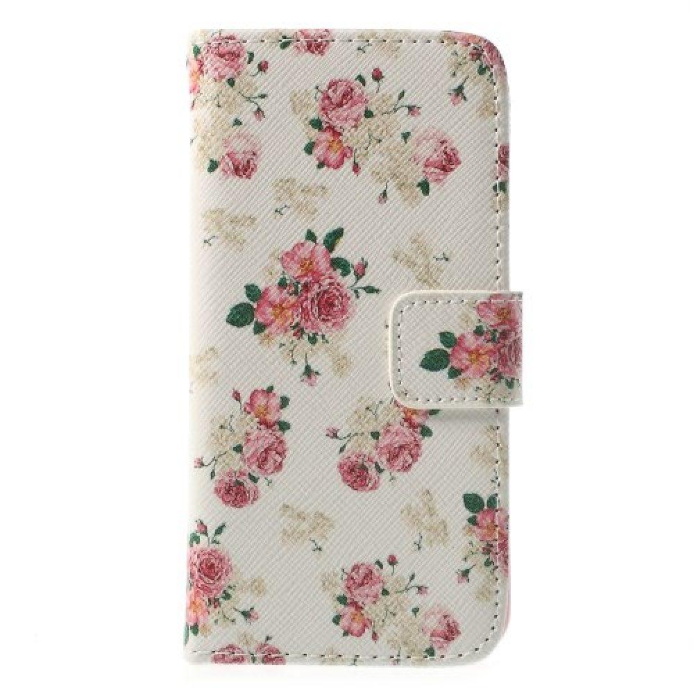 iphone5c book case bloem-wit