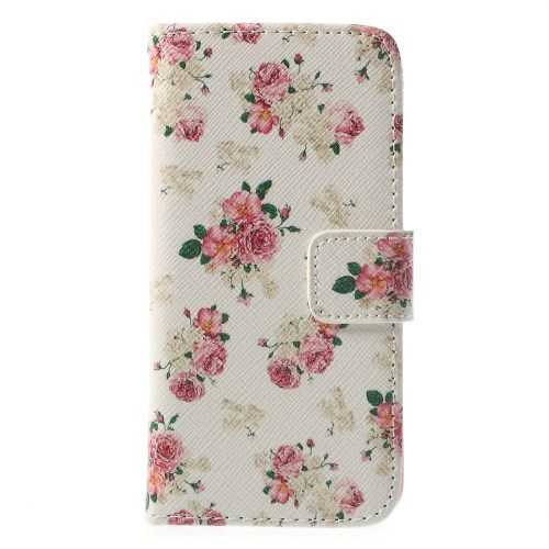 iphone5c book case bloem-wit