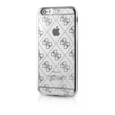 Guess TPU Case Transparant/Zilver voor iPhone 6/6S