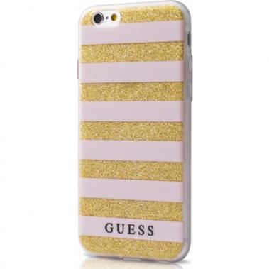 Guess TPU Case Stripes Beige/Goud voor iPhone 6/6S