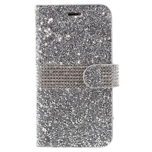 iPhone 6/6S Glitter Book Case – Zilver
