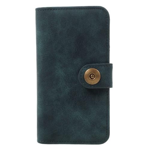 Vintage Leren Wallet Book Case voor iPhone 7 – Blauw