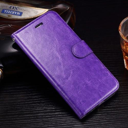 Leren Wallet Book Case voor iPhone 7 Plus / iPhone 8 Plus – Paars