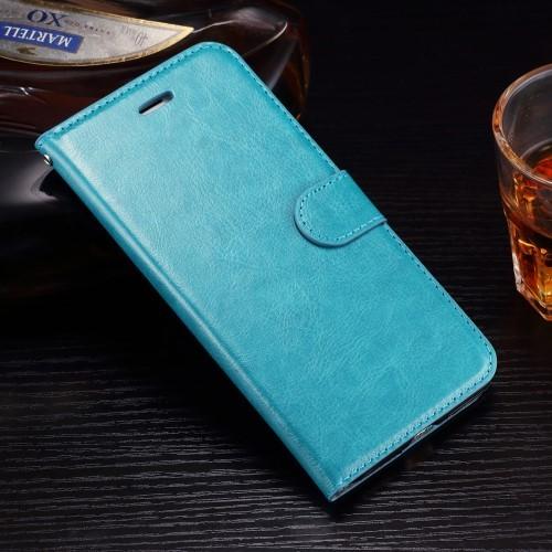 Leren Wallet Book Case voor iPhone 7 Plus / iPhone 8 Plus – Aquablauw