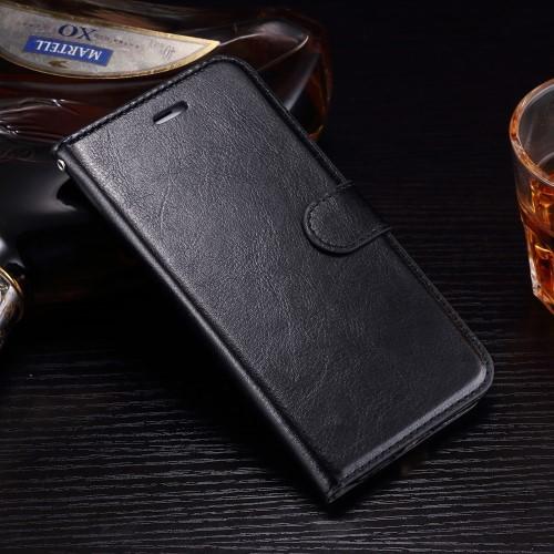 Leren Wallet Book Case voor iPhone 7 Plus / iPhone 8 Plus – Zwart