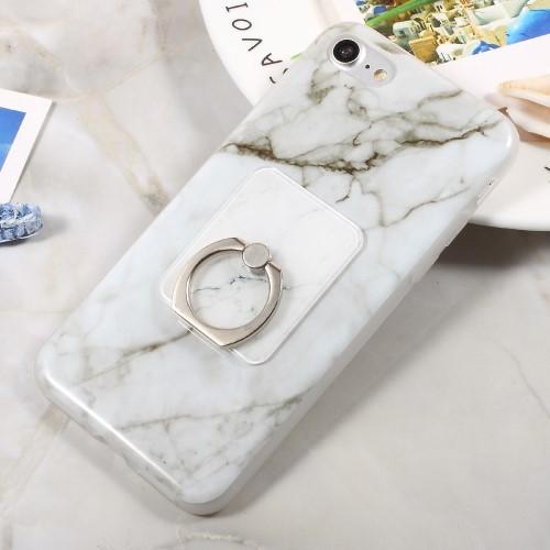 Marmerpatroon TPU hoesje met ring voor iPhone 8 / 7 / SE 2020