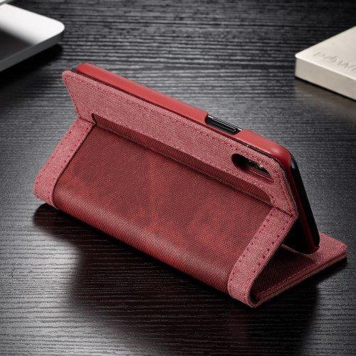iphonexs caseme wallet rood standaard