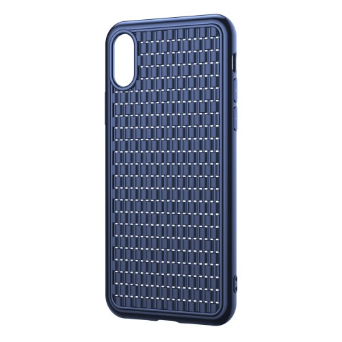 Donkerblauw TPU iPhone XR hoesje met geweven patroon