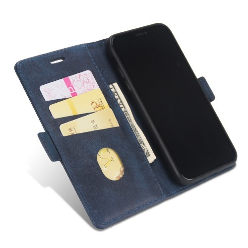 Leather Wallet Book iPhone XR Case – Blauw