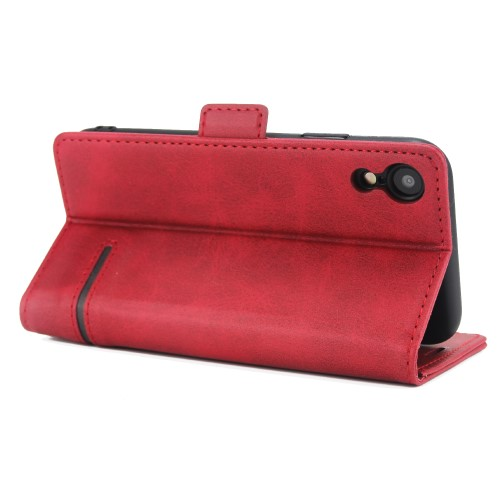 Leather Wallet Book iPhone XR Case – Rood