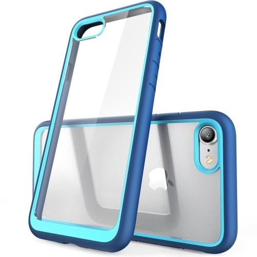 Transparant iPhone hoesje met gekleurde randen – Blauw