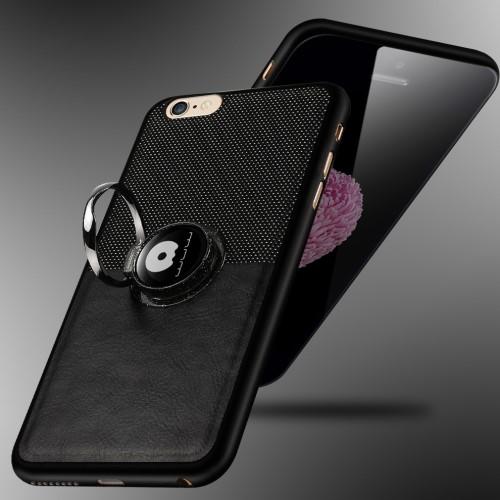 Zwart iPhone kickstand hoesje met ring