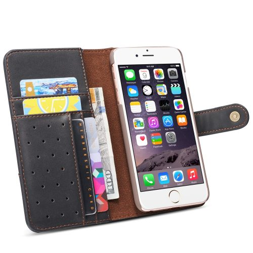 retro wallet case zwart iphone se 2020 binnenkant