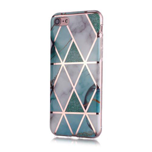 Designcase: marmerpatroon wit met turquoise