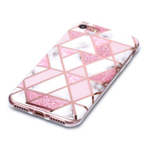 Designcase: marmerpatroon wit met roze