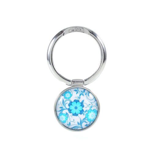 Ring kickstand Bloempatroon zilver/lichtblauw