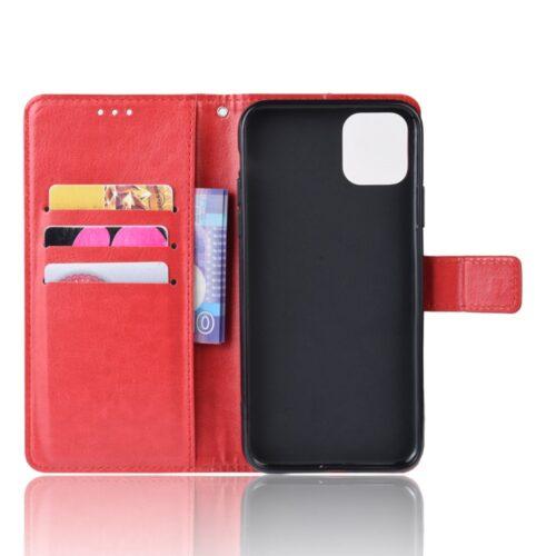 Vintage lederen Wallet Case voor iPhone 12 Pro Max – rood