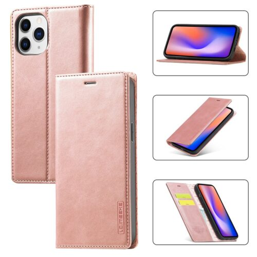 L.C. Imeeke retro lederen wallet case voor iPhone 12 mini – rose goud