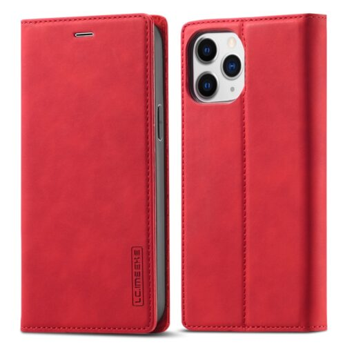 L.C. Imeeke retro lederen wallet case voor iPhone 12 mini – rood